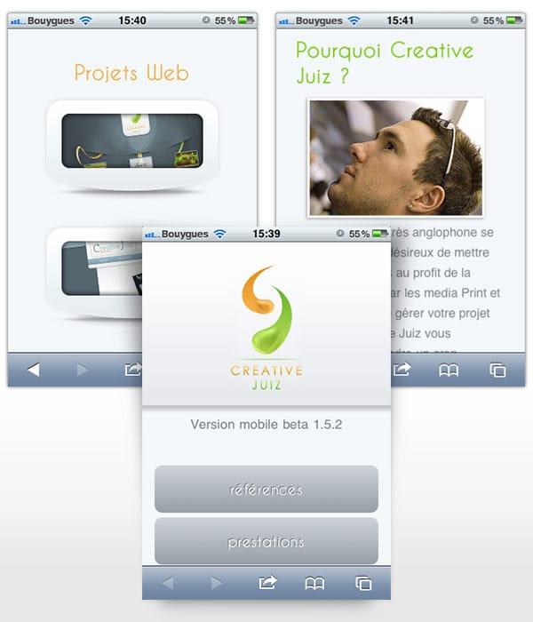 Trois visuels de la version mobile