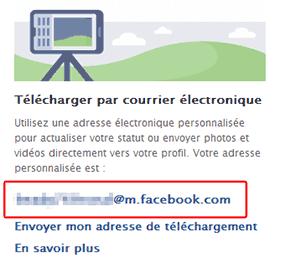 """Emplacement de l'adresse e-mail dans le cadre """"Télécharger par courrier électronique"""" sur Facebook"""