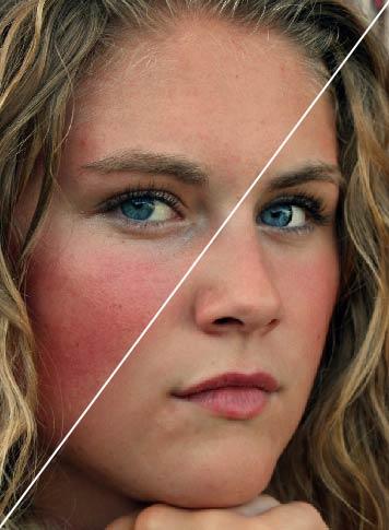 Montage présentat un visage avant et après retouches