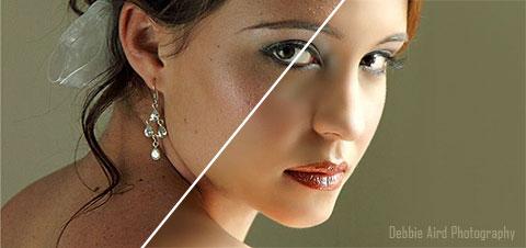 Portrait avant/après avec retouches multiples