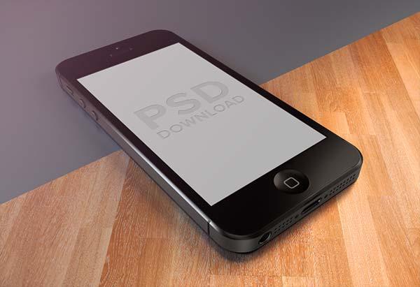 PSD de Présentation de l'iPhone5 sur texture bois ou lisse