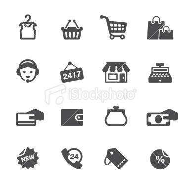 Icônes soft et légère sur la thématique du e-commerce