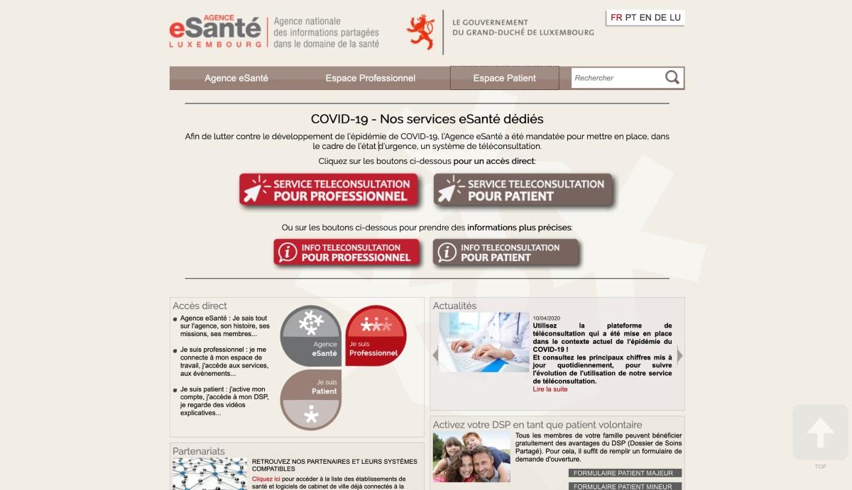Design totalement dépassé du site esante.lu