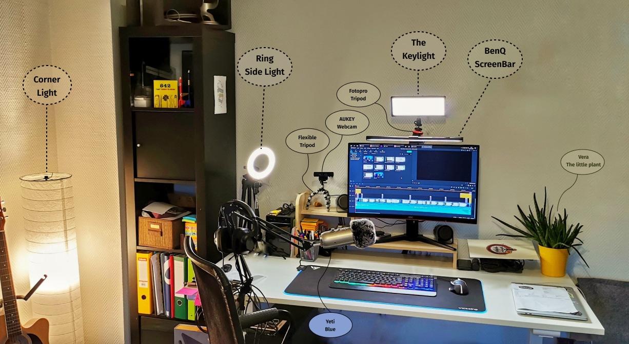 Plan global de mon bureau avec différents éclairages et leurs noms, décrits dans cet article.