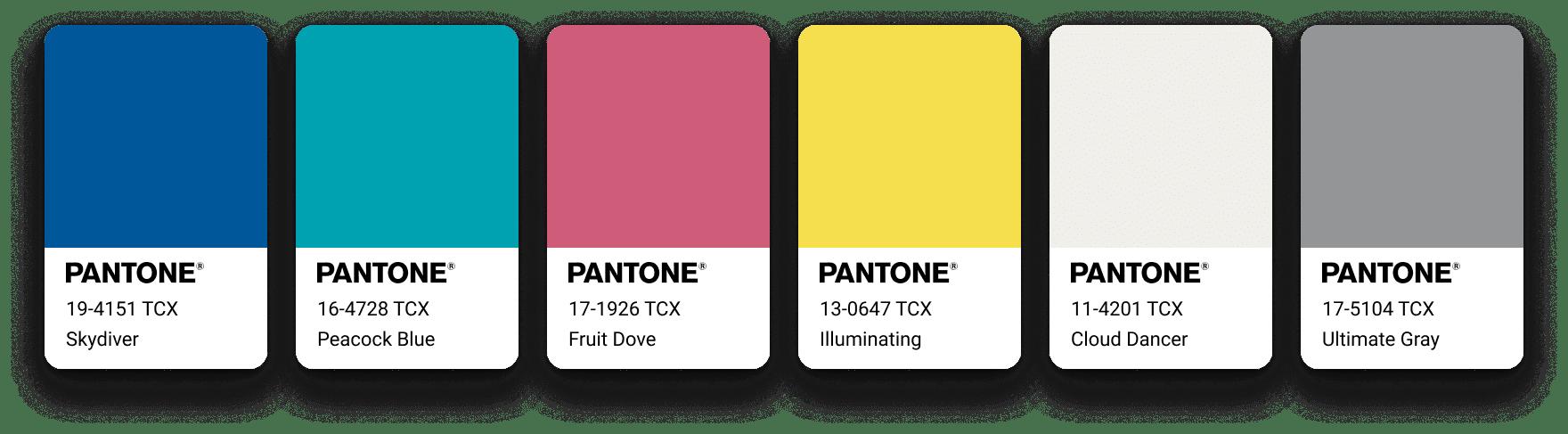 La palette Aviary composée d'un bleu roi, un vert d'eau, un rouge rosé, 2 gris et notre jaune pantone 2021