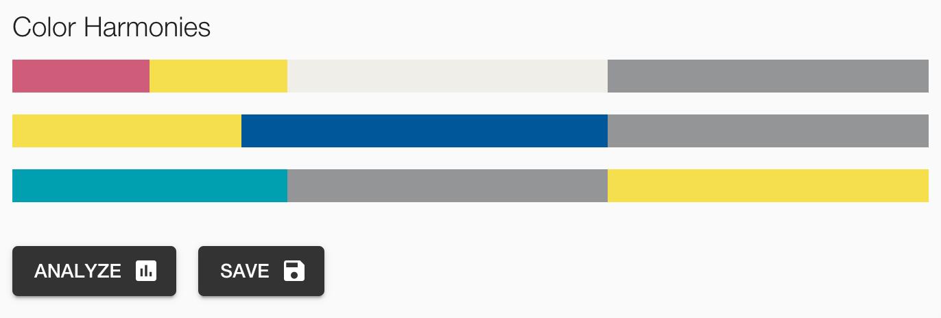Une harmonie de couleur et les boutons d'accès aux outils d'analyse