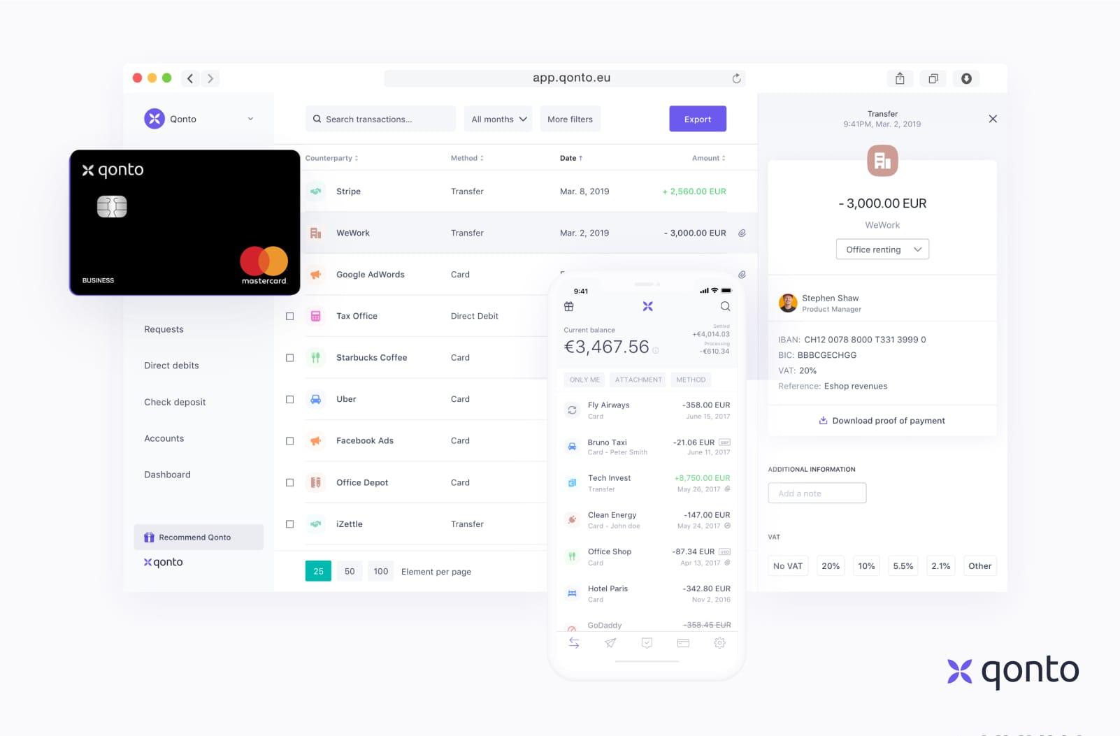 Interface très claire de Qonto en ligne et sur l'application mobile.