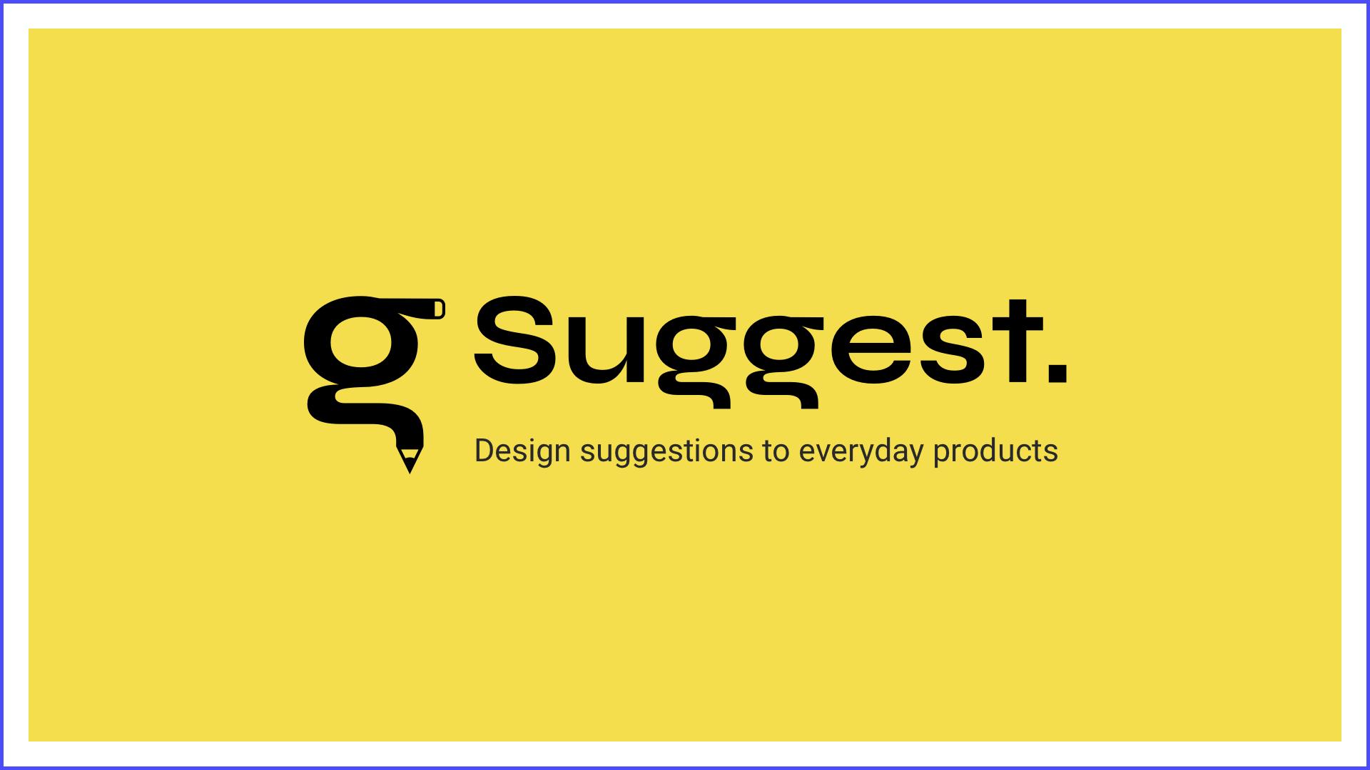 Suggest. Suggestions de design sur des produits du quotidien - Logo