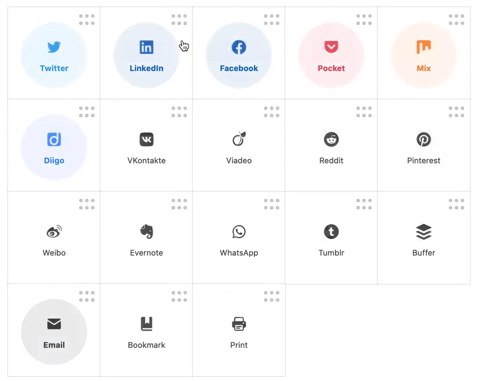 Nobs Share Buttons et sa liste de réseaux sociaux