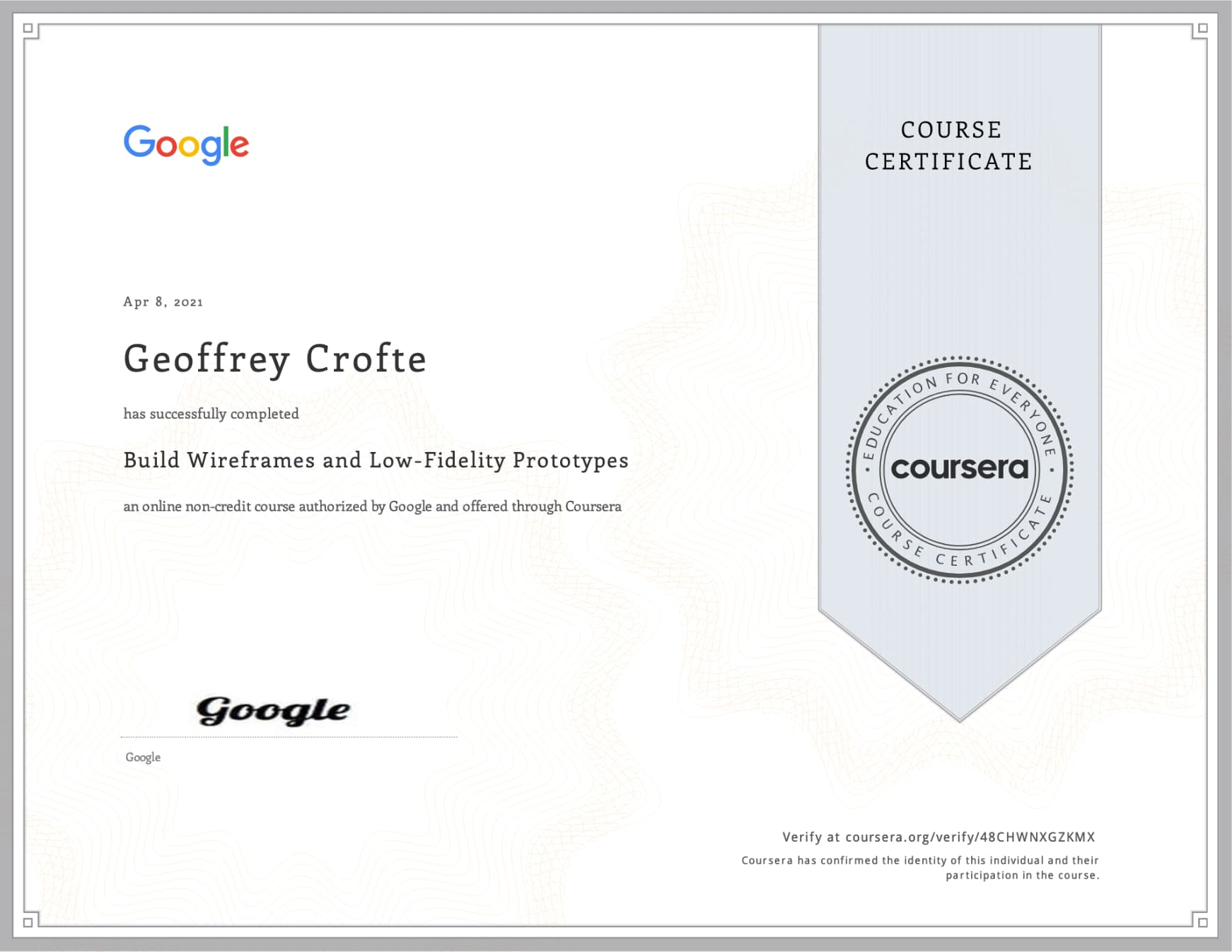 The third Google UX Design Certificate of completion